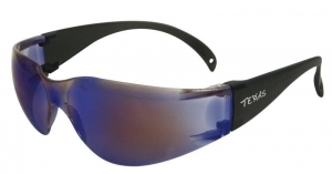 TEXAS Safety Glasses with Anti-Fog - Blue Mirror Lens