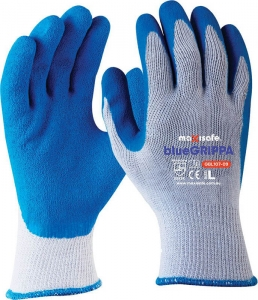 Blue Grippa Glove - Knitted Poly Cotton, Blue Latex Dipped Palm
