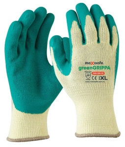 Green Grippa Knitted Poly Cotton Glove with Green Latex palm