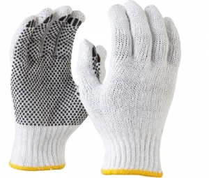 Maxisafe Bleached, Knitted Poly Cotton, Polka Dot Glove