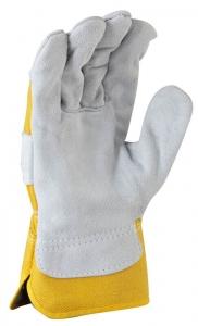 Grey split palm, yellow cotton back glove