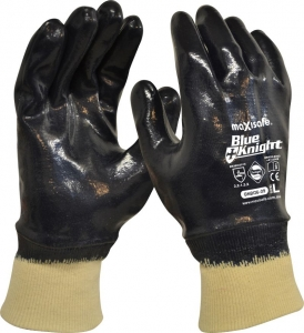 Blue Knight Nitrile Fully Dipped Gloves with Knit Wrist