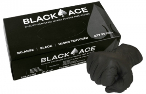 Black Ace Disposable Nitrile Gloves, Unpowdered