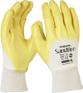 Sandfire Yellow nitrile 3/4 Dipped Jersey Glove