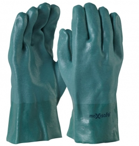 Maxisafe Green Double Dipped PVC Gauntlet 27cm
