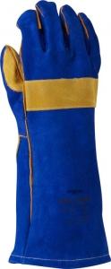 Blue & Gold Welders Gauntlet, Reinforced & Cross-Stitched