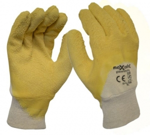 Premium Yellow Latex Coated Glass Gripper Glove