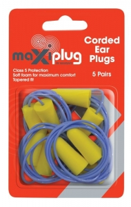 MaxiPlug Corded Ear Plugs - Blister Pack of 5 pairs