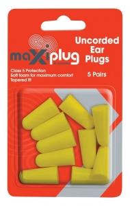 MaxiPlug Uncorded Earplugs - Blister Pack of 5 pairs