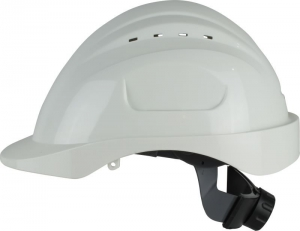 Maxisafe Long Peak White Vented Hard Hat, ratchet harness