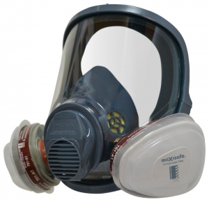 MaxiGuard Full Face Silicone Respirator with A1P2 Filter-Large
