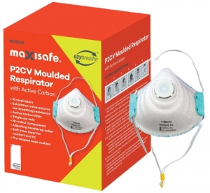 P2 Moulded Respirator with Carbon filter and Valve, box 10
